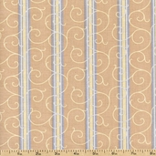 Floral Fabric in Shades of Grey Stripe Cotton Fabric - Beige 3947-60664-90
