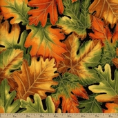 Shades of the Season 6 Leaves Cotton Fabric - Autumn
