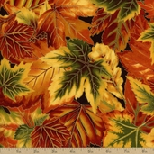 Shades Of The Season 7 Leaves Cotton Fabric - Harvest Metallic