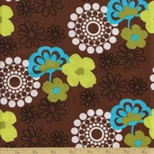 Shadow Flower Cotton Fabric - Brown Floral