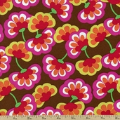 Shadow Flower Floral Cotton Fabric - Brown 33445-1