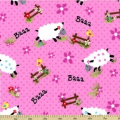 Sheep Flannel Cotton Fabric - Pink