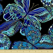 Shimmer Cotton Fabric - Butterflies - Black