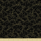 Shimmer Cotton Fabric - Petals - Black