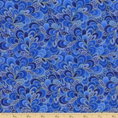 Shimmer Cotton Fabric - Petals - Royal CM9297