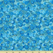 Shimmer Cotton Fabric - Petals - Turquoise CM9297