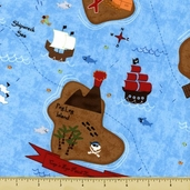 Shiver Me Timbers Pirate Islands Cotton Fabric - Aqua Y1084-33