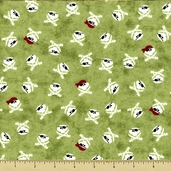 Shiver Me Timbers Skulls Cotton Fabric - Olive Y1088-24