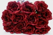 Silk Open Rose Spray 23 in Pkg of 12 - Burgundy - Clearance