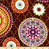 Silk Road Medallion Cotton Fabric - Brown 61751-284
