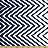 Simply Style Directional Chevron Cotton Fabric - Navy