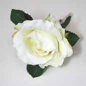 Single Rose Boutonniere 7.5in - White