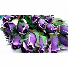 Single Rose Bud Spray 23in. - Purple - Box of 24 - Clearance