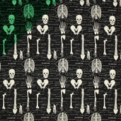 Glow in the Dark Skeletons Cotton Fabric - Black