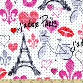 Sketch Paris Cotton Fabric White FUN-C9697