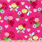 Smiling Lady Bugs Flannel Cotton Fabric - Dark Pink