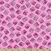 Smooches Charmed Cotton Fabric - Pink