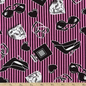 Smooches Glam Cotton Fabric - Pink