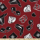 Smooches Glam Cotton Fabric - Red