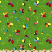 Snail Trails Butterflies Cotton Fabric - Green E60-1627-66 - CLEARANCE