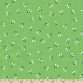 Snails Trails Smile Cotton Fabric - Green