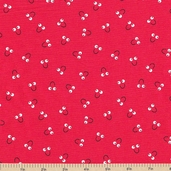 Snails Trails Smile Cotton Fabric - Red