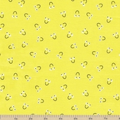 Snails Trails Smile Cotton Fabric - Yellow