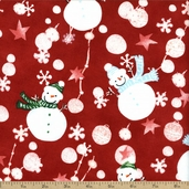 Snow Day Snowmen Cotton Fabric - Scarlet