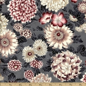 Snow Festival Floral Cotton Fabric - Mauve Silver