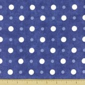 Snow Much Fun Dot Flannel Cotton Fabric Blue
