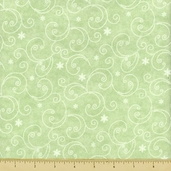 Snow Much Fun Swirl Flannel Cotton Fabric - Green