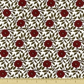 So Ho Cotton Fabric - Floral Vine - Red - Clearance