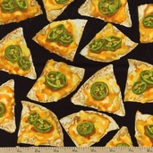 Some Like it Hot Cotton Fabric - Snack Attack Nachos - Black 05673-12