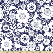 Song Bird Floral Cotton Fabrics - Blue