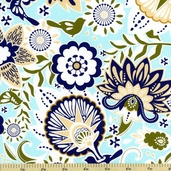 Song Bird Main Cotton Fabric - Blue