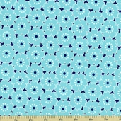 Song Bird Petal Cotton Fabric - Blue