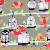 Sorbet Fly Away Cotton Fabric - Stone