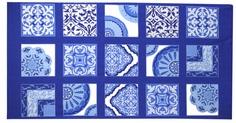 Spa Cotton Trellis Panel Fabric - Blue