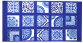 Spa Cotton Trellis Panel Fabric - Blue - Clearance