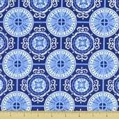 Spa Tiles Cotton Fabric - Cobalt 19583-13