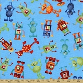 Space Cotton Fabric - Robot Toss - Light Blue