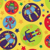 Spacebots Cotton Fabric - Yellow