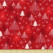 Sparkle All the Way Cotton Fabric - Pines - Celebration Red