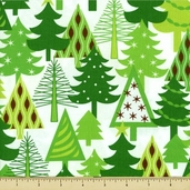 Sparkle All the Way Cotton Fabric - Trees - Holiday Green