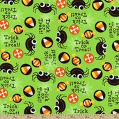 Spiders Trick or Treat Cotton Fabric - Lime