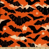 Spooktacular Bats Cotton Fabric - Orange