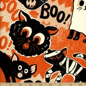 Spooktacular Cat Costume Cotton Fabric - Orange