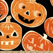 Spooktacular Jack-O-Lantern Cotton Fabric - Black