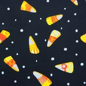 Spooktacular Too Cotton Fabric - Black Candy Corn - Clearance