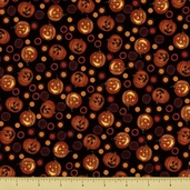 Spooky Eve Cotton Fabric - Jack-O-Lanterns - Black